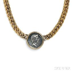 """18kt Gold and Antique Coin """"Monete"""" Necklace, Bulgari"""