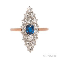 Edwardian Sapphire and Diamond Navette Ring