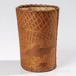 Large Northeast Birch Bark Pictorial Container
