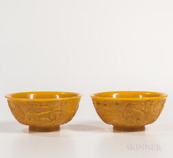 Pair of Yellow Peking Glass Bowls