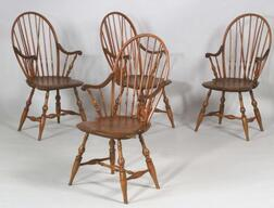 Set of Four Bow-back Windsor Armchairs