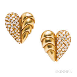 18kt Gold and Diamond Heart Earclips, Vahe Naltchayan