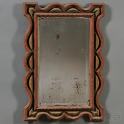 Painted Chip-carved Tramp Art Mirror