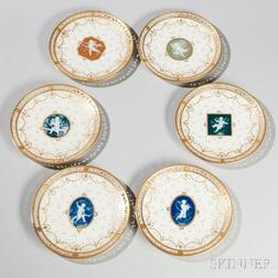 Set of Six Mintons Porcelain Pâte-sur-Pâte Fruit Plates