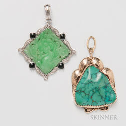 Platinum, Diamond, Onyx, and Carved Jadeite Pendant and a 14kt Gold and Turquoise Pendant