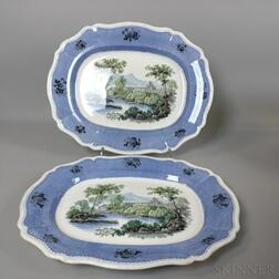 Pair of Davenport Transfer-decorated Ceramic Platters