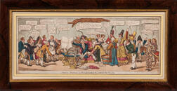 Caricature and Satirical Prints, England, Six Hand-colored Examples and One Facsimile.
