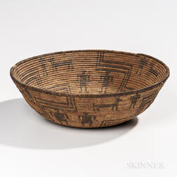 Southwest Coiled Pictorial Basketry Bowl