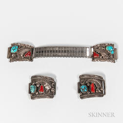Four Navajo Silver and Turquoise Strap Bands