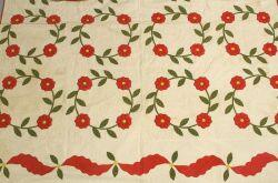 Floral Appliqued Cotton Quilt