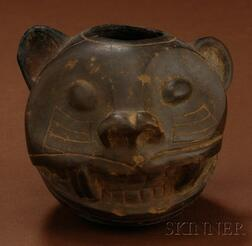 Pre-Columbian Jaguar Head Bowl
