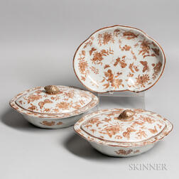 Three Sepia and Gilt Export Porcelain Table Items