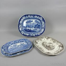 Four English Blue and White Transfer-decorated Ceramic Platters