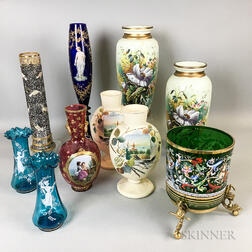 Ten Continental Ceramic and Glass Vases