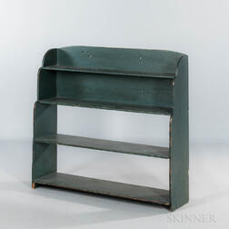 Blue/green-painted Wall Shelf