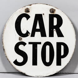 """Two-sided Enamel """"Car Stop"""" Sign"""