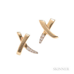 "18kt Gold and Diamond ""X"" Earrings, Paloma Picasso, Tiffany & Co."