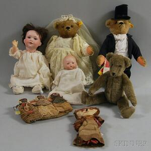 Seven Assorted Dolls and Teddy Bears