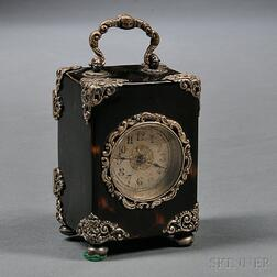 Miniature Silver-mounted Shell Carriage Clock