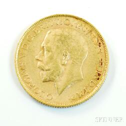 1914-P British Gold Sovereign.     Estimate $200-300