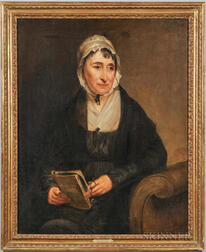 American School, 19th century      Portrait of a Woman on a Settee Holding a Book and Eyeglasses