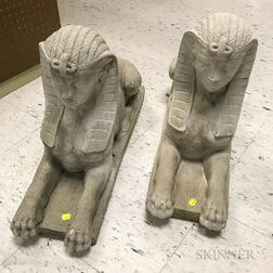 Pair of Concrete Sphinxes