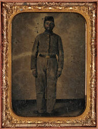 Cased Civil War Tintype Depicting an African American Confederate Soldier