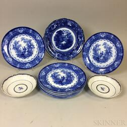 Nine Flow Blue Ceramic Dinner Plates and a Pair of Chinese Export Porcelain Saucers