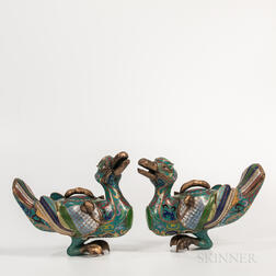 Pair of Cloisonne Duck-shaped Censers
