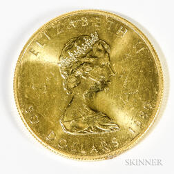 1980 Canadian $50 Maple Leaf Gold Coin.     Estimate $800-1,000