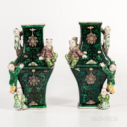 "Pair of Famille Noir ""Five Boys"" Vases"