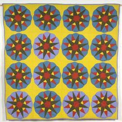Pieced and Appliqued Cotton Pennsylvania German Mariner's Compass Quilt,    Lancaster County, c. 1885