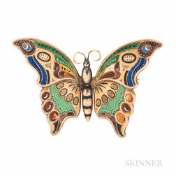 Victorian Gold and Enamel Butterfly-form Sentimental Brooch