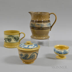 Four Dendritic-decorated Yellowware Vessels