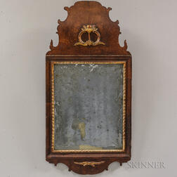 Small Continental Carved Walnut Mirror