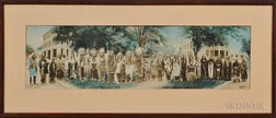 Framed Hand-tinted Panoramic Photograph of Quanah Parker and Comanche Indians