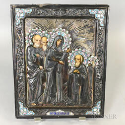 Russian Enameled Silver Riza on Later Icon