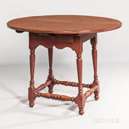Red-painted Oval-top Tea Table with Drawer