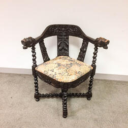 Continental Ornately Carved Oak Corner Chair