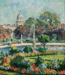 Lawton Silas Parker (American, 1868-1954)      View of the Paris Pantheon from the Luxembourg Gardens