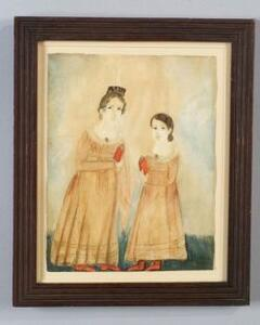 American School, 19th Century  Portrait of Two Sisters.