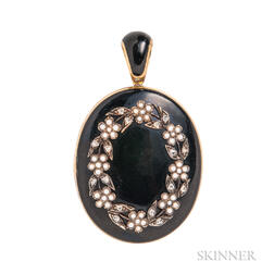 Victorian Gold and Enamel Mourning Locket