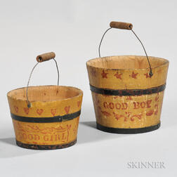 """Yellow- and Red-painted """"Good Boy"""" and """"Good Girl"""" Pails"""