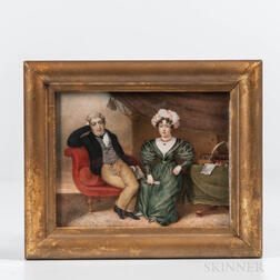 American School, Early 19th Century      Miniature Portrait of a Man and Woman in a Comfortable Setting