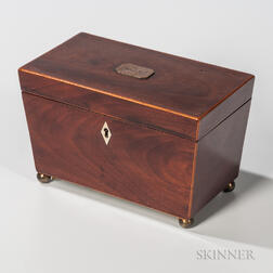 Mahogany Veneer Tea Caddy