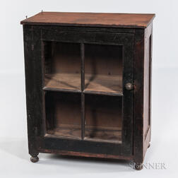 Small Black-painted Glazed Cupboard