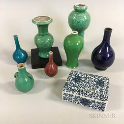 Seven Chinese Porcelain Vases and a Lidded Box