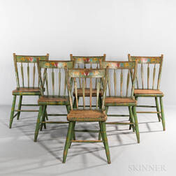 Set of Six Paint-decorated Chairs