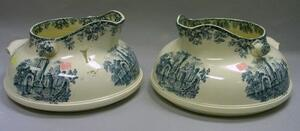 Pair of Large W.T. Copeland & Sons Blue/Green Ruins Transfer Decorated Chamber Jugs.
