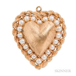 14kt Gold and Pearl Heart Locket